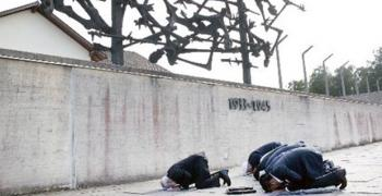 Muslim delegates praying at dachau, illume